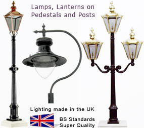 Brass lamps on traditional iron posts