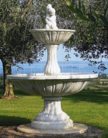 Italian two tier water fountain with traditional bowl. Optional pump, spray ring and lighting.