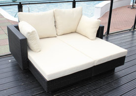 Chicago 2 Seater Rattan Lounger Day Bed Set