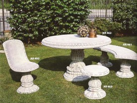 Patinato Finish - One of the two colour options available for this patio / garden stone table set