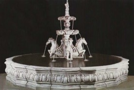 Fuente Caballos (4 horses) very large stone water fountain with decorative centre and surround bowl