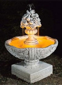 Principina sculptured fruit stone water feature fountain