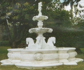 Fontana Angliana stone water fountain with four horses and tiered centre