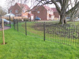 Iron Hooped Park and Garden Fencing - picture shows complete with finish options.