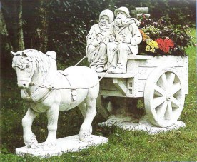 Cavalleria Bretone. A man and woman, horse and cart cement marble statue planter