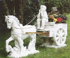 Cavalleria Aquitana boy with pony and cart cement marble statue