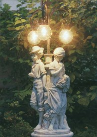 Lampione S. Margherita stone boy and girl under glass spheres lamp statue