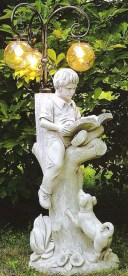 Boy sitting on a tree with his dog globe lantern lamp statue