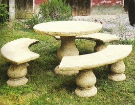 Veneziano Finish - One of two colour options available for this low, round stone table and benches set