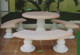 Cod. 3b - One of the two colour options available for this patio / garden stone table and benches set.