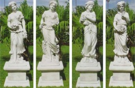 Set of four Seasons theme statues and plinths made from concrete, cement marble composite