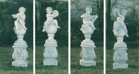 Set of four music theme statues and plinths made from concrete, cement marble composite