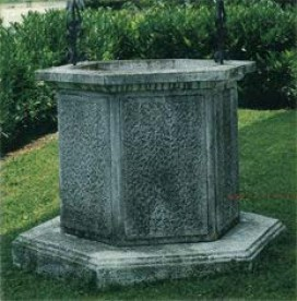 Rustico concrete cement marble well cap cover with Iron Arch