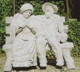 Nostalgia Couple sitting on a bench cement marble statue
