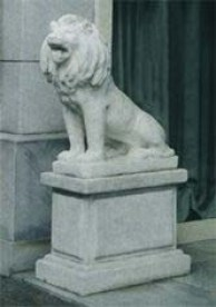Leone Siriano (sx) large sized cement marble entrance way lion statue