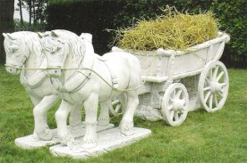 Cavalleria Normandia is a two horse hay cart garden statue planter