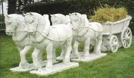 Cavalleria Provenzale is a four Shire / Work Horses and Cart garden statue ornament