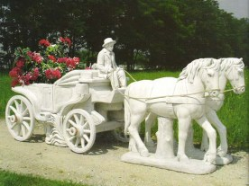 Cavalleria Isere A man driving a stagecoach horse and cart cement marble statue planter