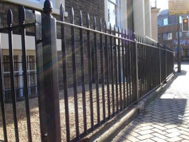 Heavy Duty Town or City Iron Railings. Picture shows the actual design, materials and finish options available.