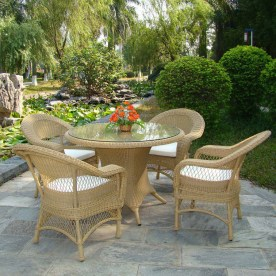 Beige four seater Victorian Style Rattan Dining Set